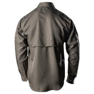 Back of the of the Grunt Style Long Sleeve Fishing Shirt in Olive that shows the vented back panel