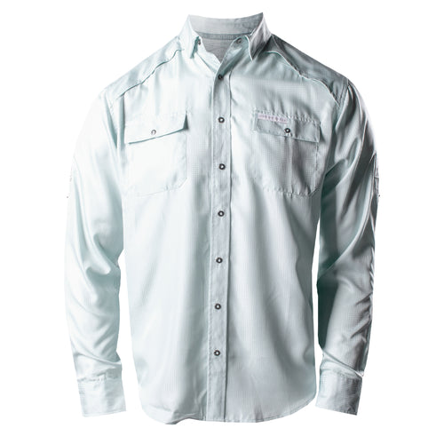 Front of the Grunt Style Long Sleeve Fishing Shirt  in Seafoam