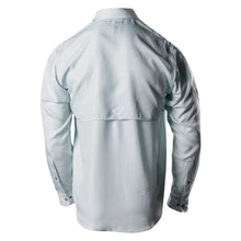 Load image into Gallery viewer, Back of the Grunt Style Long Sleeve Fishing Shirt in Seafoam featuring the vented back panel