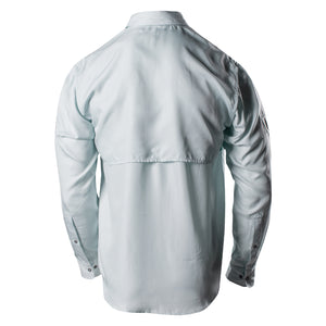 Back of the Grunt Style Long Sleeve Fishing Shirt in Seafoam featuring the vented back panel
