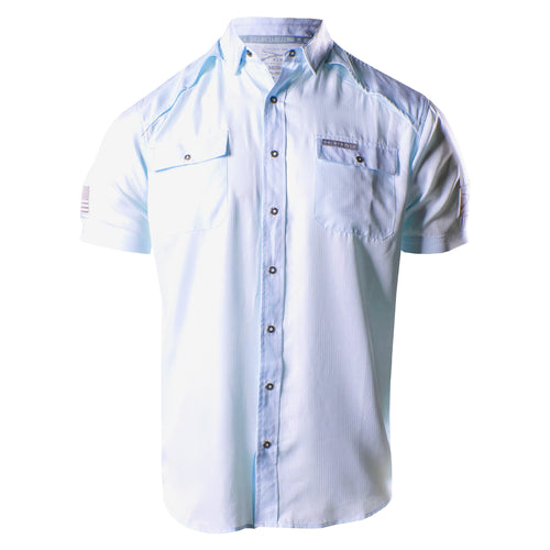 Front of the Grunt Style Short Sleeve Fishing Shirt in Light Blue