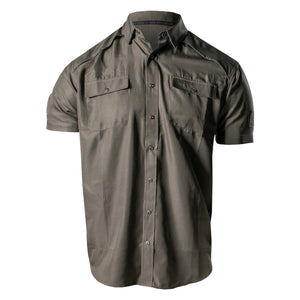 Front of the Grunt Style Short Sleeve Fishing Shirt in Olive