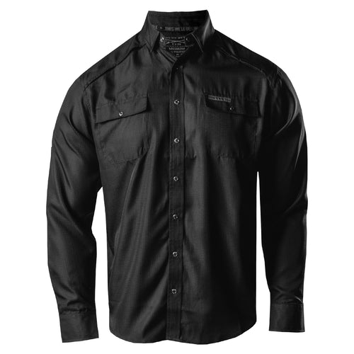 Front of the Long Sleeve Fishing Shirt in Black
