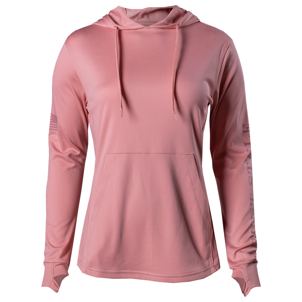 Front of the Women's GS Lightweight Performance Hoodie in Mauve