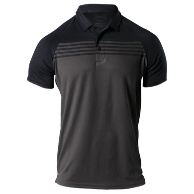 Front of the Grunt Style Chest Stripe Polo in Black and Charcoal