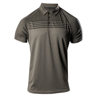 Front of the Grunt Style Chest Stripe Men's Casual Polo in Dark Olive