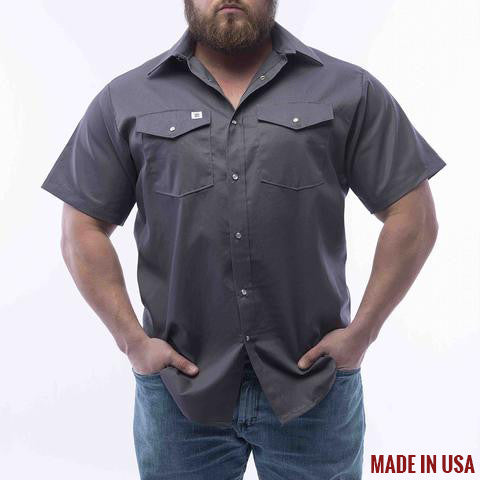 BIG BILL Short Sleeve Button Snap Work Shirt - Charcoal