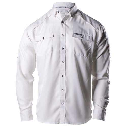 Front of the White Grunt Style Long Sleeve Fishing Shirt