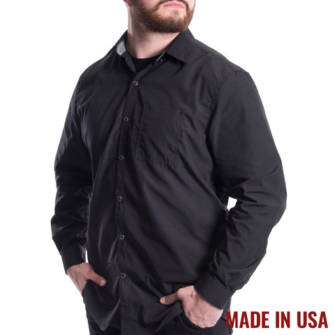 Grunt Style Men's <br><i>Lexington & Concord</i></br> Lightweight Poly/Cotton Long Sleeve Shirt - Black