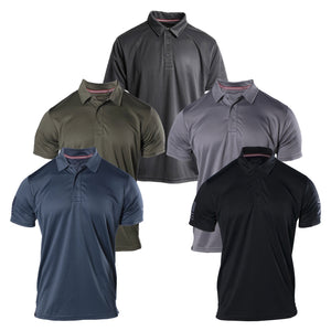 The Grunt Style Performance Polo for Men comes is five colors, Navy, Black, Military Green, Asphalt, and Charcoal