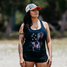 Load image into Gallery viewer, American Reaper Women's Racerback Tank - Midnight Navy