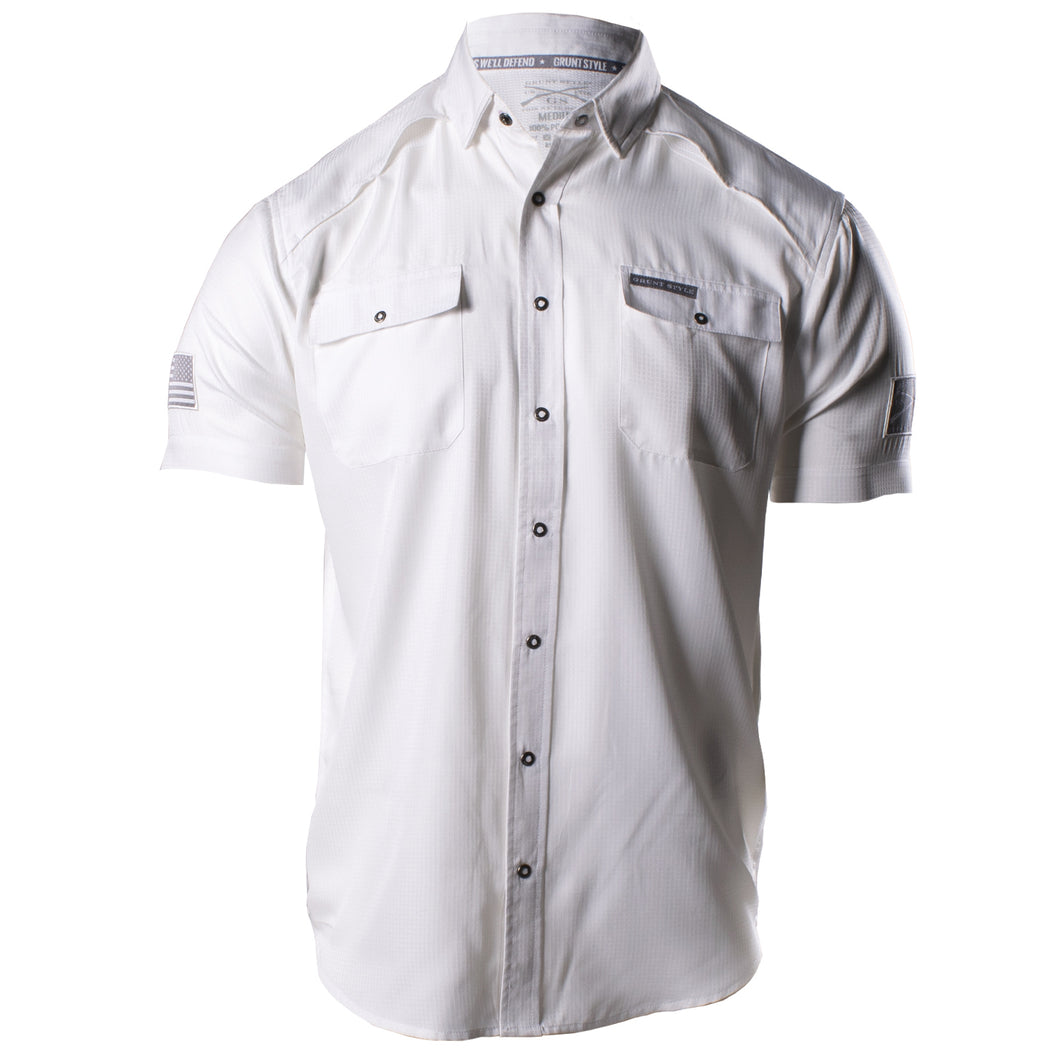Front of the Grunt Style Short Sleeve Fishing Shirt in White