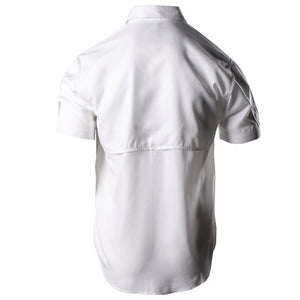 Back of the Grunt Style Short Sleeve Fishing Shirt in White that shows the back venting panel