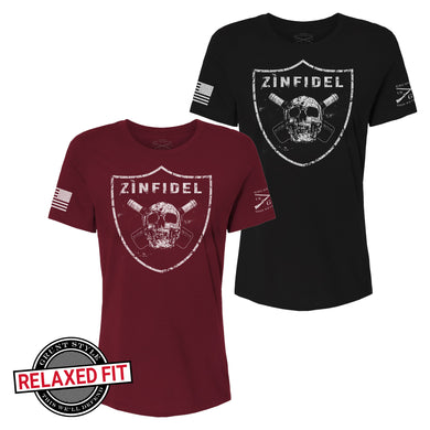 Black and Maroon color options for the Zinfidel - Women's Short Sleeve Graphic Tee in the Relaxed Fit