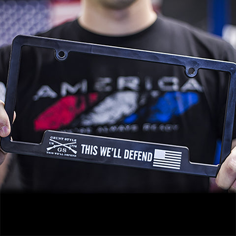 Grunt Style License Plate Cover - This We'll Defend