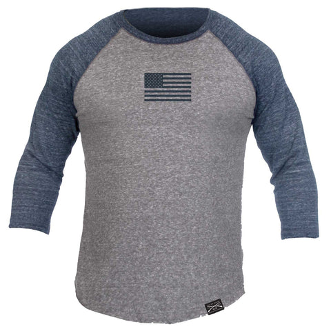 Men's Basic Raglan - Navy & Grey - Front Phantom