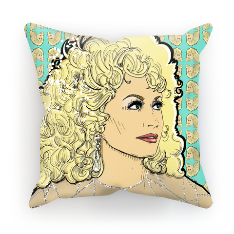 Dolly Mix Rhinestone Aqua - XWayneDidIt Cushion Cover