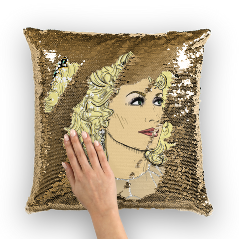 Dolly Mix Rhinestone Aqua - XWayneDidIt Sequin Cushion Cover