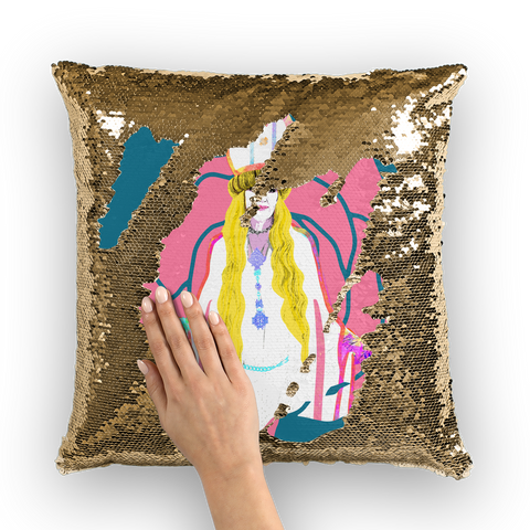 Moira Viking Pope Sequin Cushion Cover