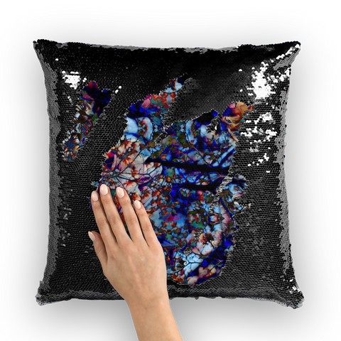 Black Orchid Sequin Cushion Cover