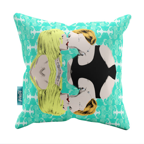 Britney: Like a Virgin Throw Pillow - Turquoise