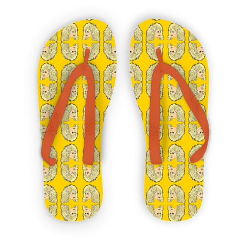 Dolly Mix Rhinestone Yellow Plain - XWayneDidIt Adult Flip Flops