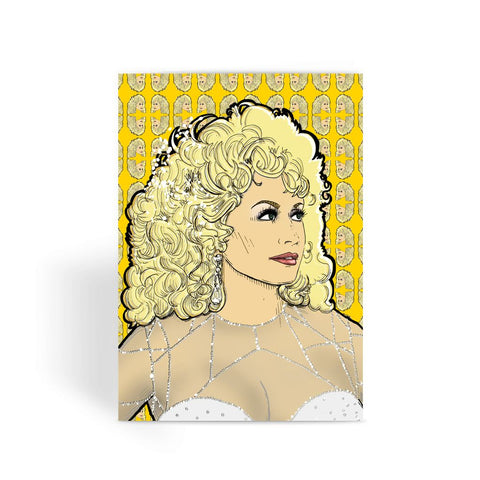 Dolly Mix Rhinestone Mustard - XWayneDidIt Greeting Card