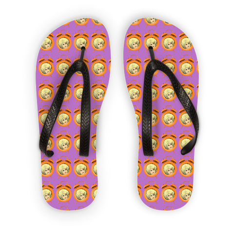 Dolly Mix 9to 5 Fuchsia Plain - XWayneDidIt Adult Flip Flops