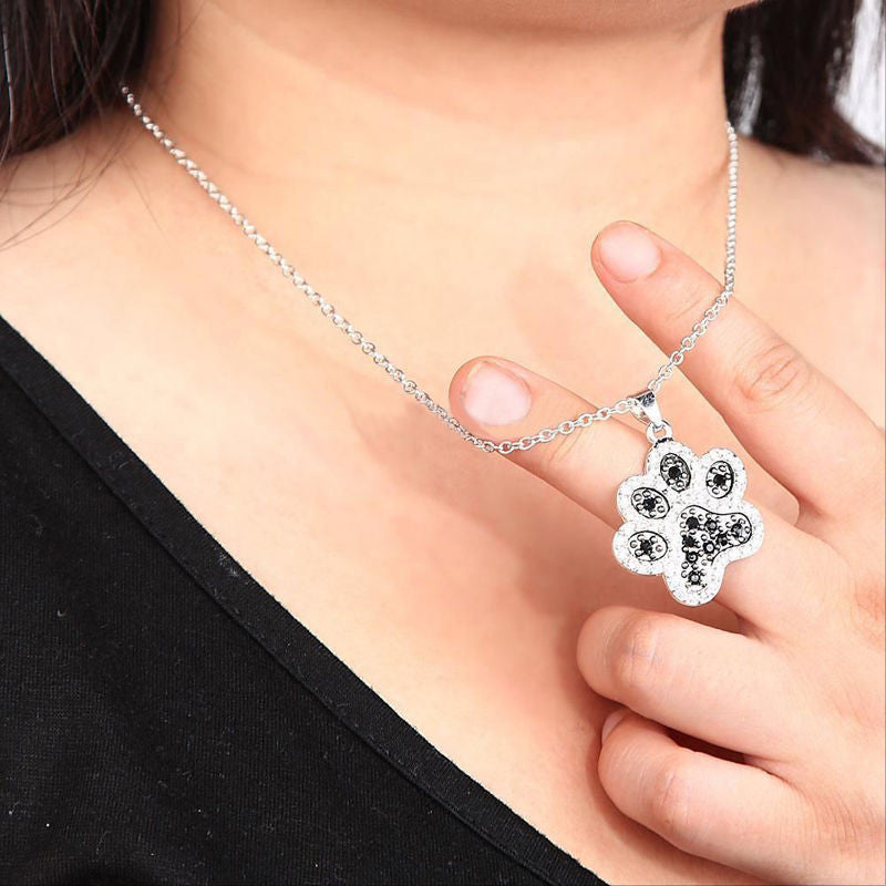 Dog Paw Prints Chain Pendant Necklace