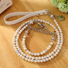 Silver Pearl Pet Collar Leash
