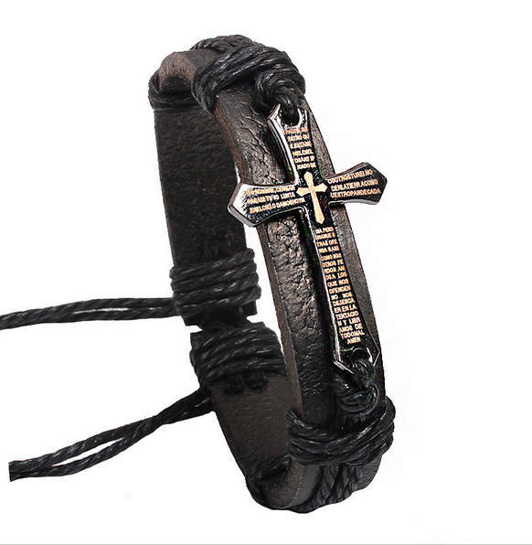 Metal Cross Jesus Leather Bracelet