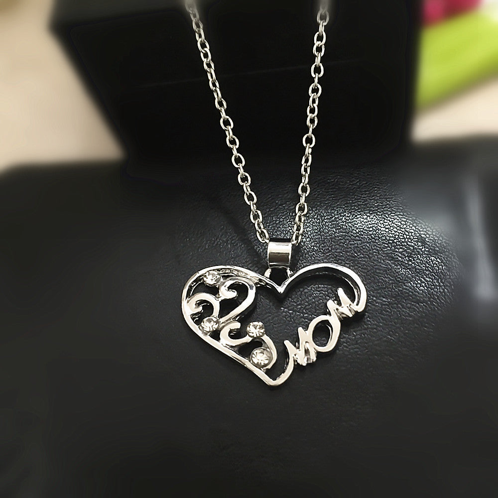 Crystal style love mom heart pendant necklace like buy enjoy crystal style love mom heart pendant necklace mozeypictures Images