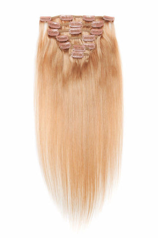 20 Inch Full Head Remy Clip in Human Hair Extensions - Dark Golden Blonde Hair Extensions (#16)