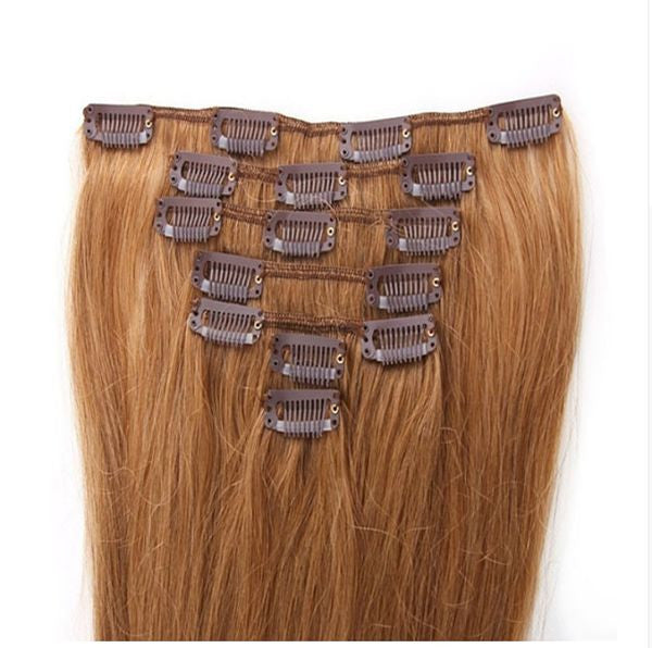 16 Inch Full Head Remy Clip in Human Hair Extensions - Medium Ash Blonde (#14)