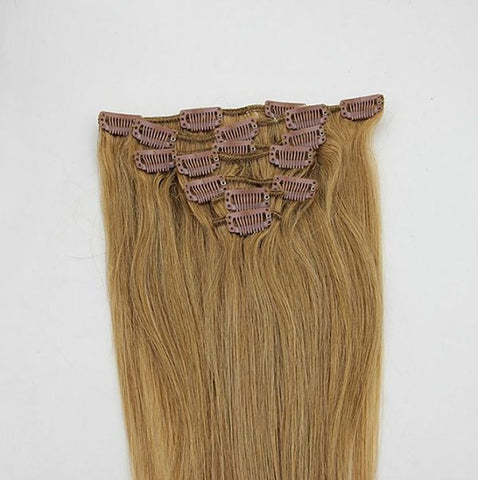 16 Inch Full Head Remy Clip in Human Hair Extensions - Ginger Blonde (#27)