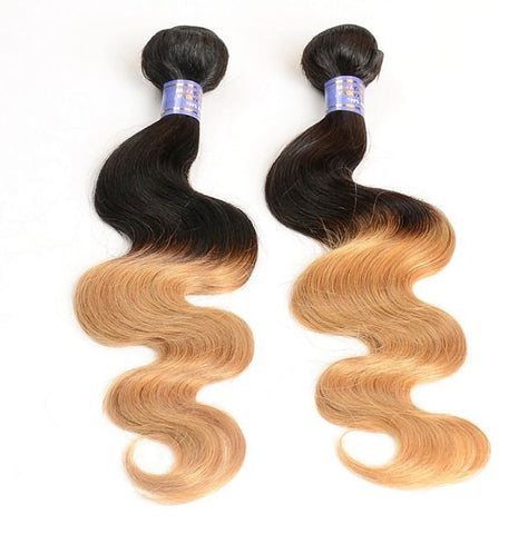 Virgin Brazilian Hair Extensions Ombre 1B/27 - Human Hair Weaves Weft 100g Bundle