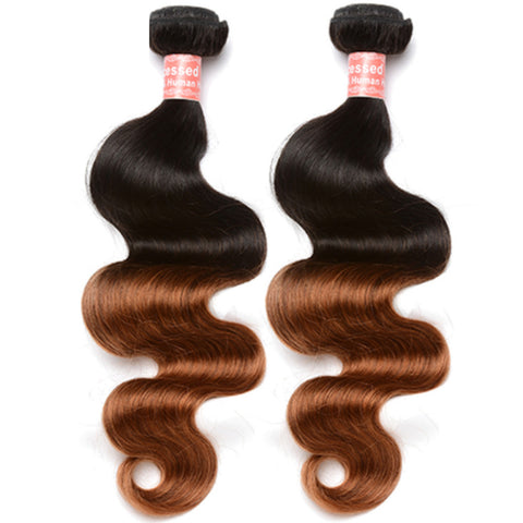Virgin Brazilian Hair Extensions Ombre 1B/30 - Human Hair Weaves 100g Bundle