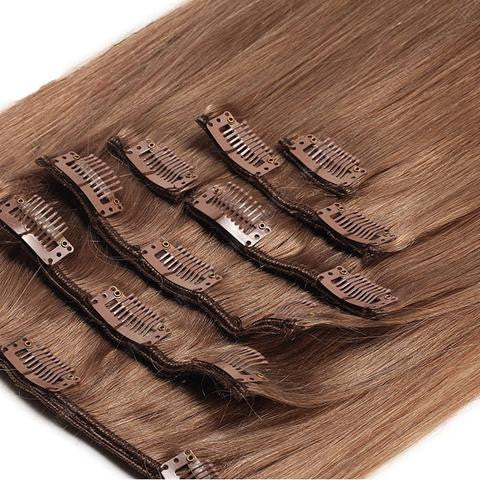 18 Inch Full Head Remy Clip in Human Hair Extensions - Chestnut Brown (#8)