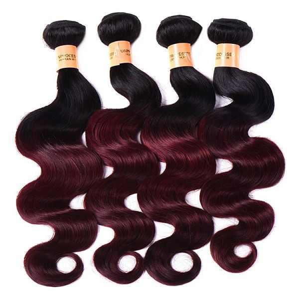 Virgin Brazilian Hair Extensions Ombre 1B/Burgundy - Human Hair Weaves Weft 100g Bundle