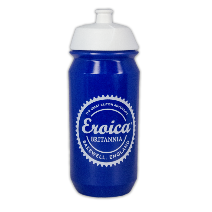 Trax Blue and White plastic water bottle