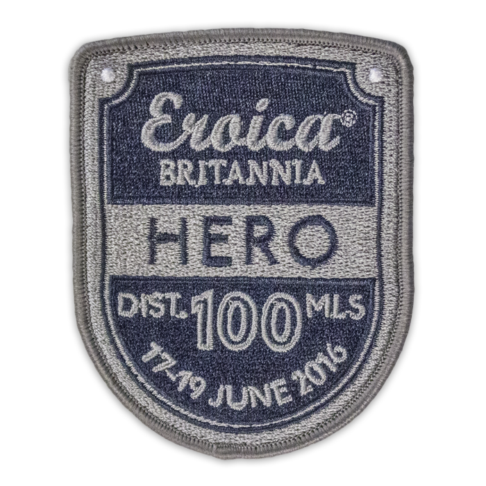 Eroica Britannia Shield Fabric Patch - 100 miles