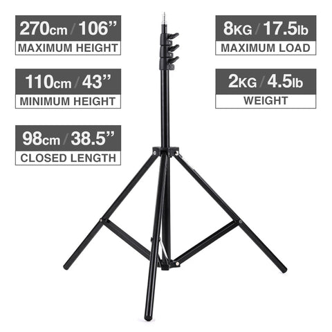 FalconEyes AP-D6J 270cm Studio Light Stand Max Height 270cm