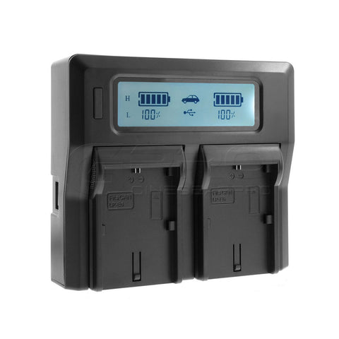 CGPro LP-E6 Dual Digital Battery Charger w/ LCD Display For LP-E6