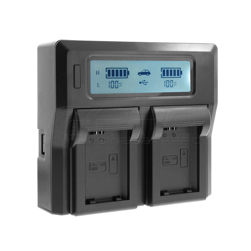 Dual Channel USB Battery Charger with LCD Display for NP-FW50 Camera Battery