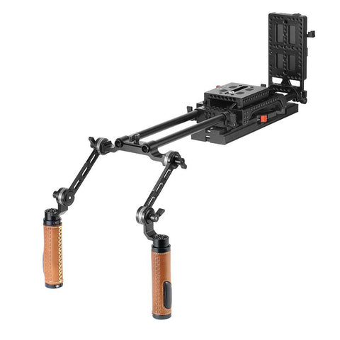 CGPro Handheld Dual ARRI Rosette Grip (Leather) Shoulder Rig For Sony VCT-U14 Tripod Adapter