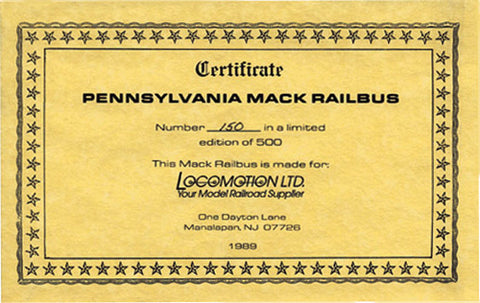 Certificate-Pennsylvania-150-Limited-Edition