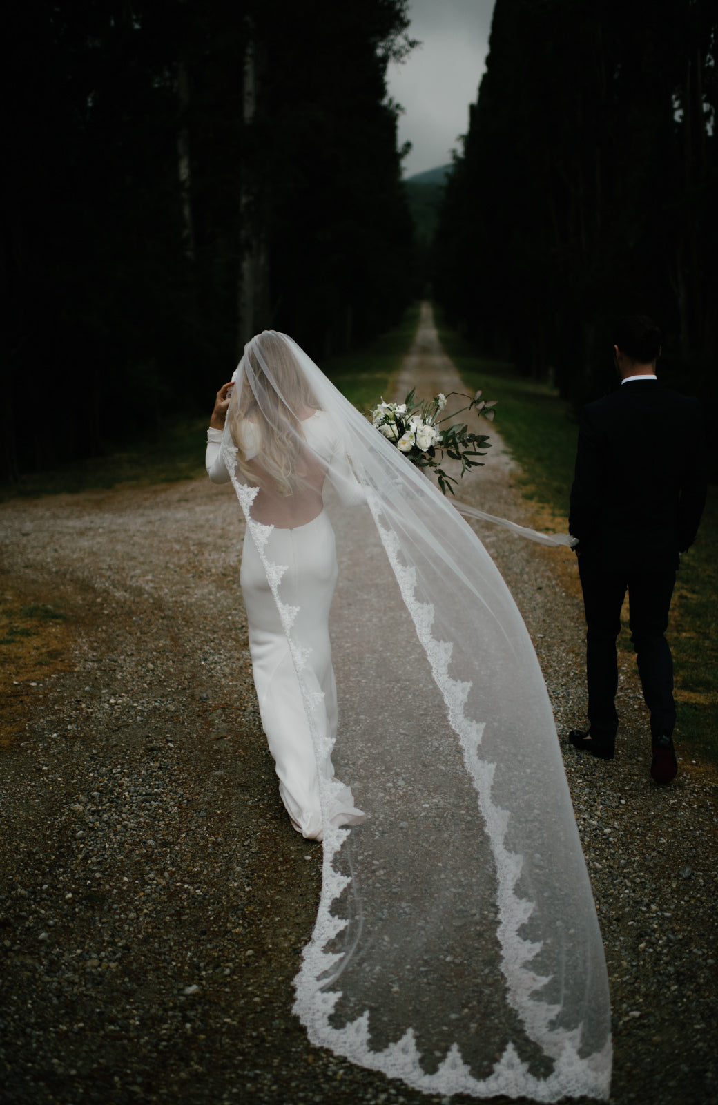 Sample Catarina Beaded Lace Wedding Veil - Daphne Newman Design
