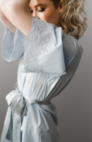 Alexandra Cotton Short Bridal Robe - Daphne Newman Design