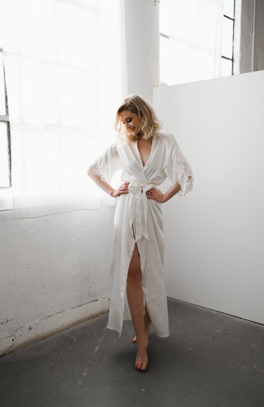 Emily Long Silk Bridal Robe - Daphne Newman Design
