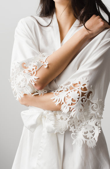Cloé Silk Cotton Short Bridal Robe - Daphne Newman Design